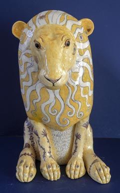 Ceramic Lion by G Warne front view: