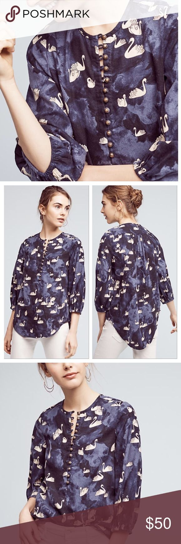 Bethesda Navy Swan Print Flannel Top by Maeve Flannel material. Blousey sleeves and longer length in back. Antique brass buttons. Unique swan print. New with tags. Size small. Anthropologie Tops