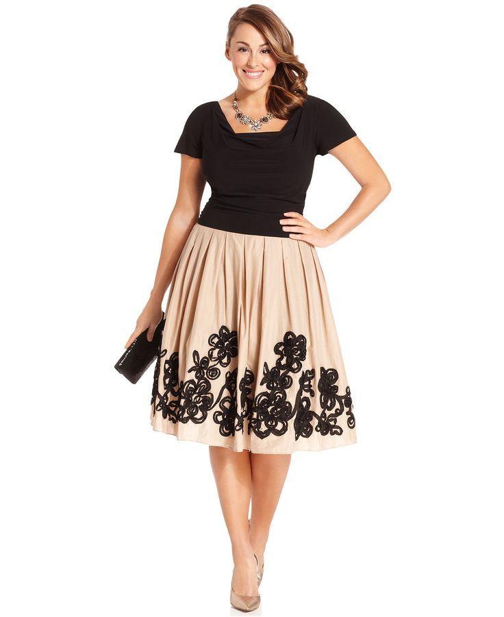 Sl Fashions Plus Size Dress Short Sleeve Cowl Neck Full Skirt Dresses Sizes Macy S Summer For Women White And Pink
