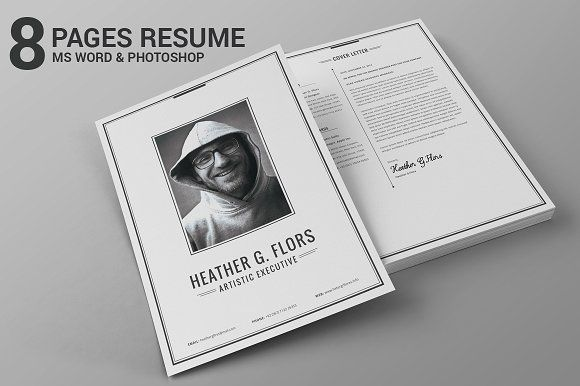 8 Pages Extended Resume CV MS Word by SNIPESCIENTIST on @creativemarket