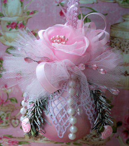 Shabby Pink Chic Christmas Ornament, Pink Roses, Venice Lace, Pearls, Pink Tulle | eBay