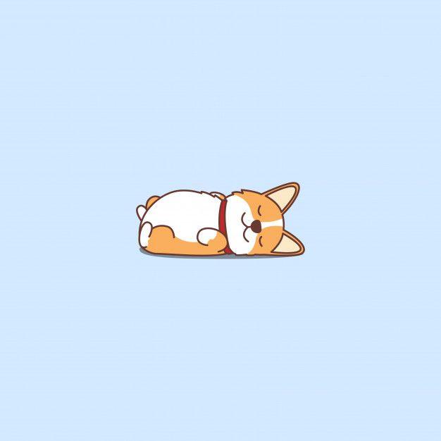 Cute Welsh Corgi Puppy Lying On Back Cartoon Icon Corgi Doodle Corgi Drawing Corgi Wallpaper