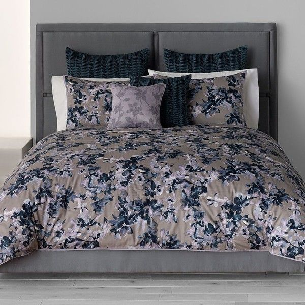 Simply Vera Vera Wang Midnight Floral 3-pc. Comforter Set, Grey (195 CAD) ❤ liked on Polyvore featuring home, bed & bath, bedding, comforters, grey, gray king comforter, king size comforter, grey comforter, floral queen comforter set and grey queen comforter set