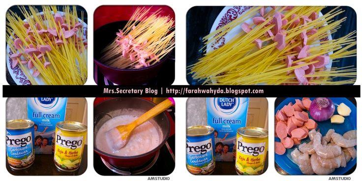♥ Mrs Secretary Blog ♥ : DariDapurMerahFarah | Resepi Spaghetti Carbonara Lemak Berkrim
