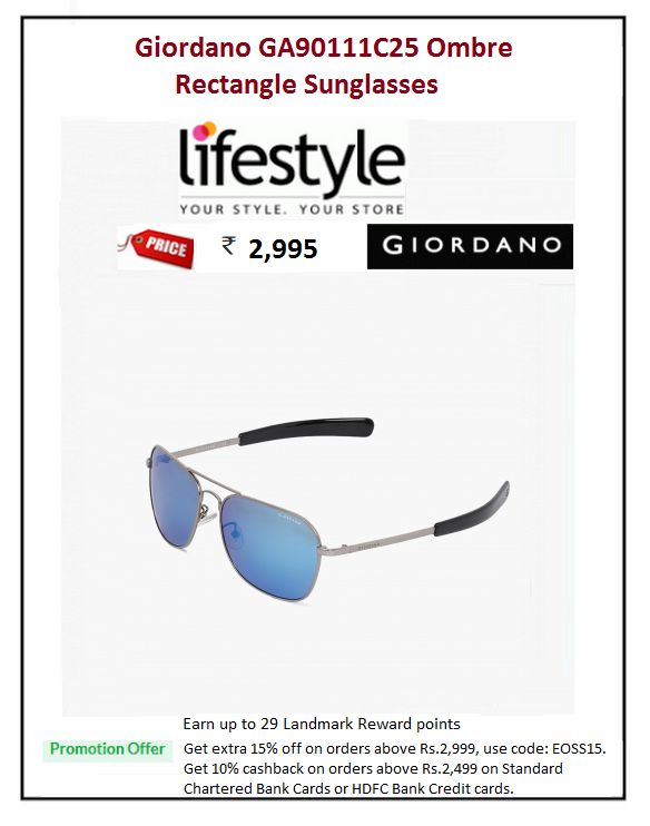 #Giordano #GA90111C25 #Ombre #Rectangle #Sunglasses  #Material : Metal #Price: ₹2,995.00 #Frame Shape : Rectangle #Frame color : Silver #Lens Shade : Multicolour