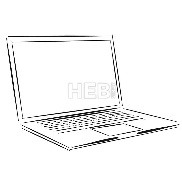 Laptop Outline Sketch by Hebstreits #stockimage #vector #design