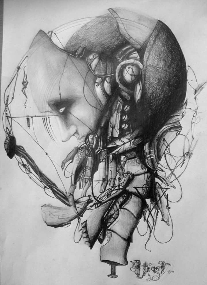 Strange moods and emotions on a single paper, drawn by pencil