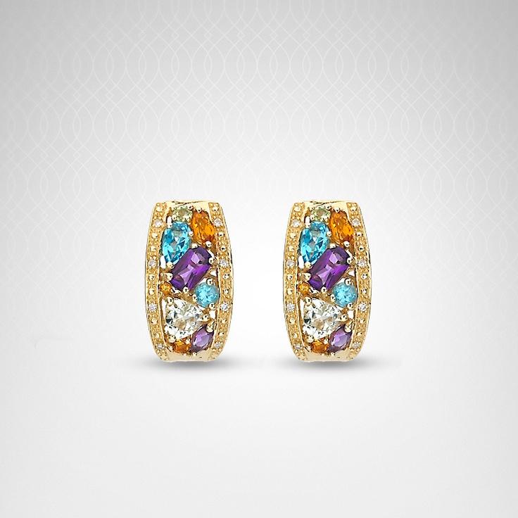 Diamond and multi gemstone earrings in 14k yellow gold: Gemstone Earrings, Multi Gemstone