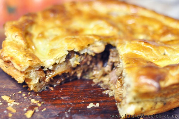Steak / Beef and Onion Pie (or Oxtail & Prune Pie w/ Red Cabbage)