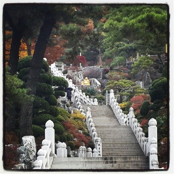 Temple stairs in Incheon, South Korea