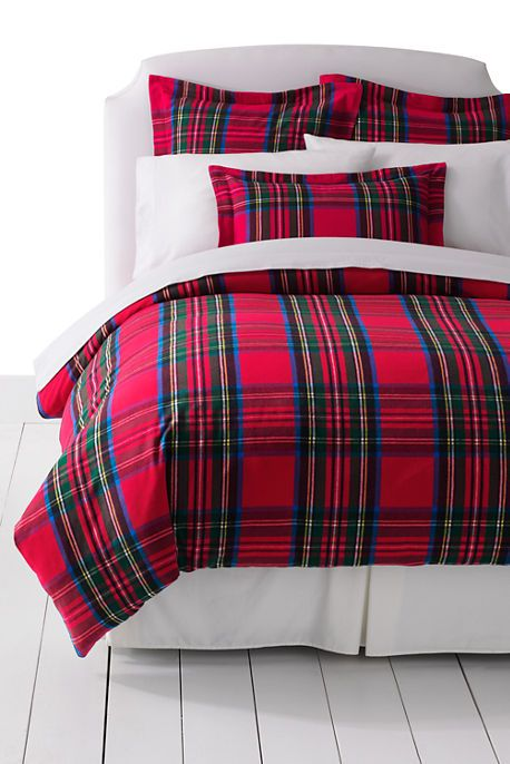 5oz Flannel Velvet Plaid Duvet Cover from Lands' End