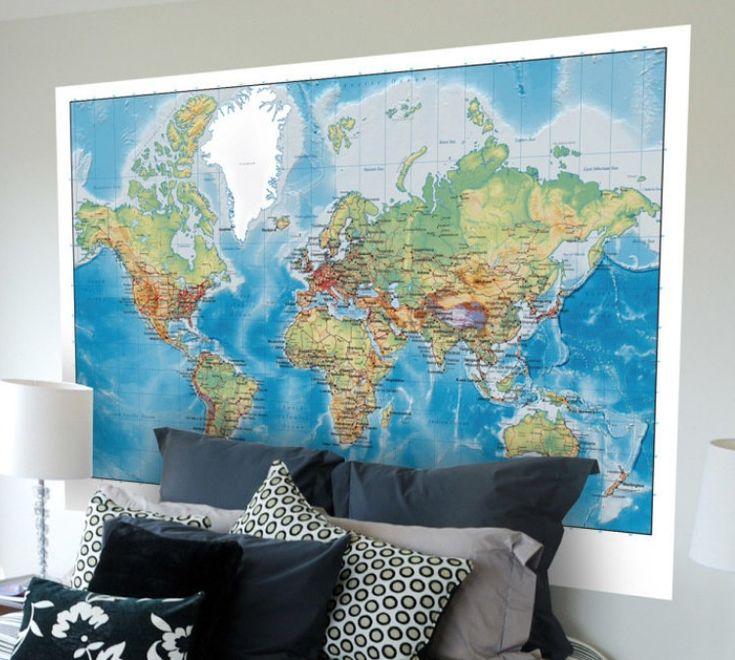 World Atlas Map Wall Sticker Vinilos, Vinilo