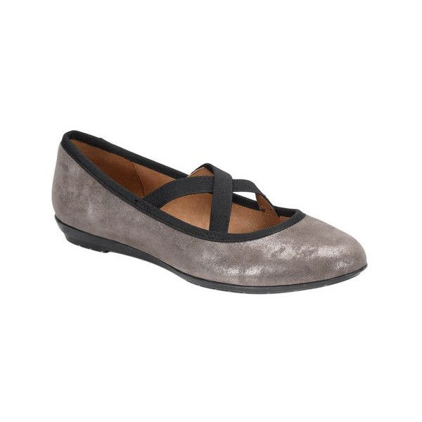 Women's Sofft Barris Ballet Flat ($70) ❤ liked on Polyvore featuring shoes, flats, brown, casual, steel toe shoes, flat pumps, black flats, black strappy flats, black evening shoes and black skimmer