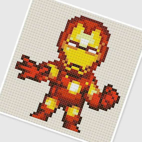 Iron Man Knitting Pattern : PDF Cross Stitch pattern - 0271.Iron man (mark4) - INSTANT DOWNLOAD PRESENT...