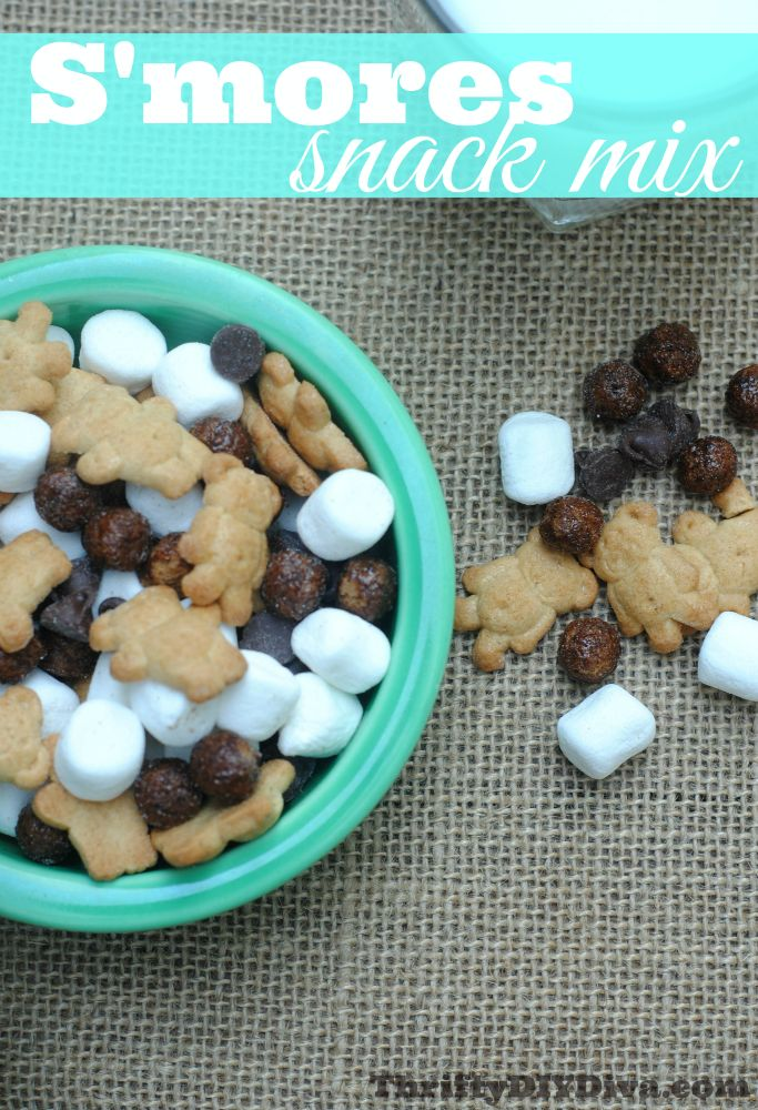 Make this S'mores Snack Mix Recipe for National S'mores Day!!! #smoresrecipes http://thriftydiydiva.com/national-smores-day-make-this-smores-snack-mix-recipe/