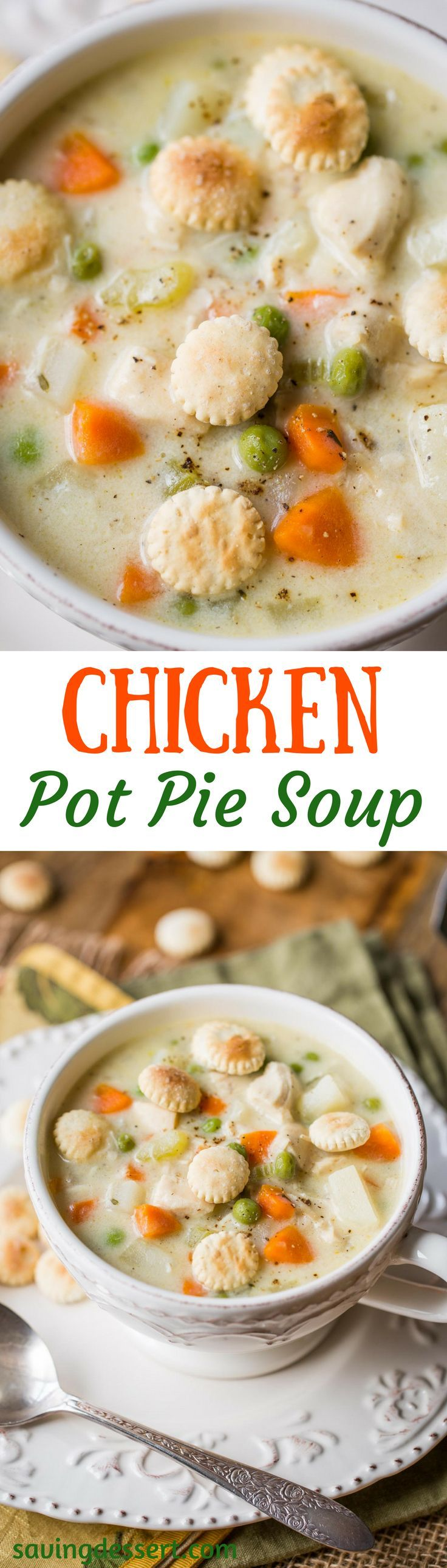 creamy chicken soup with potatoes, peas, onion, celery and carrots.
