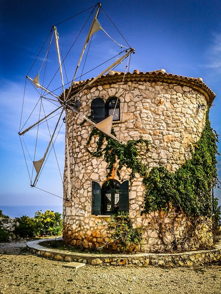 Old stone Windmill in Skinari on the Greek Ionian island of Zakynthos.