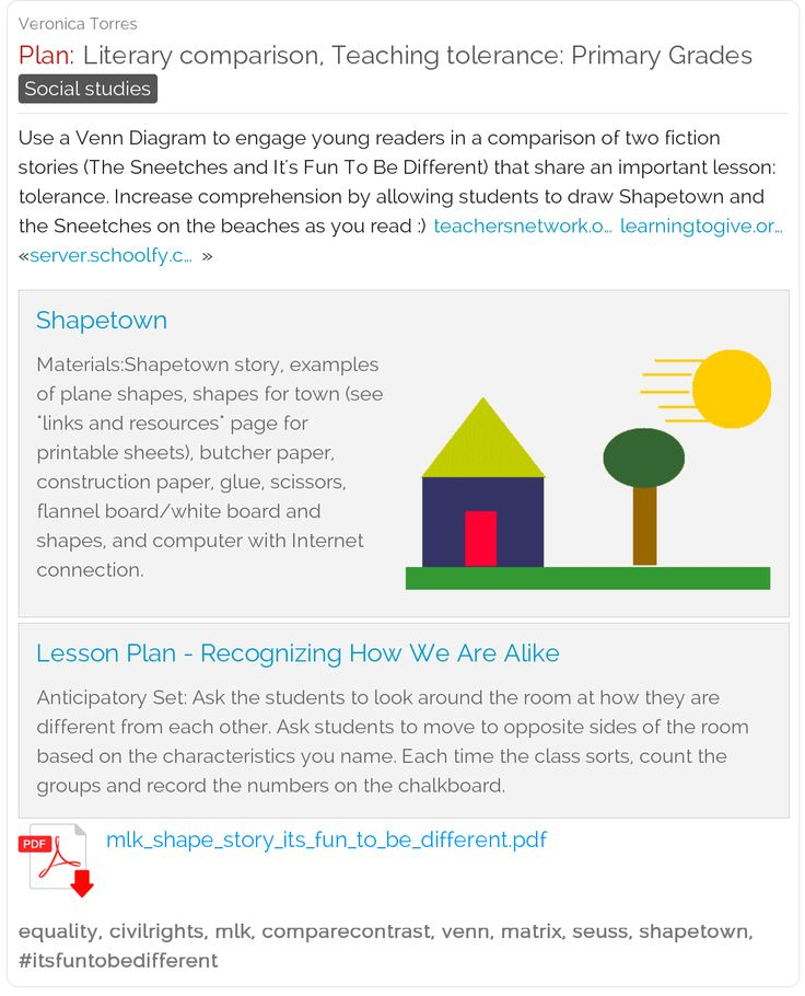 """Literary comparison teaching tolerance: Use a Venn diagram to compare """"The Sneetches"""" with another story about diversity. #drseuss #lessonplan #freebie #ELA"""