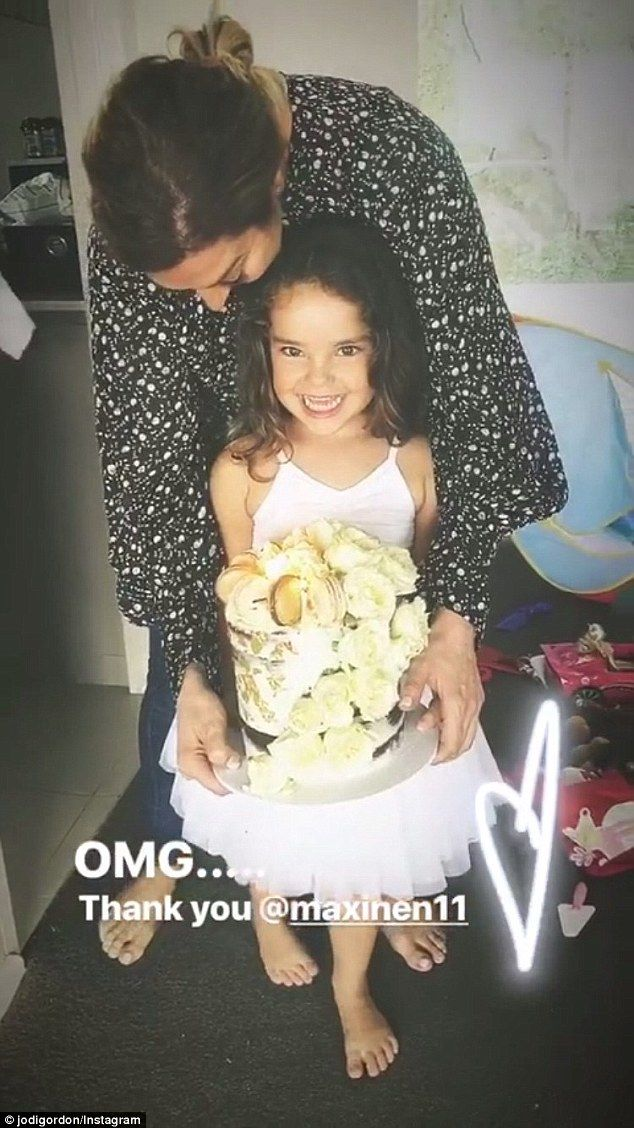Jodi Gordon marks 33rd birthday with a decadent cake  She might just be three-years-old but it seems Aleelia Anasta already knows how to make an entrance.  The daughter of Neighbours actress Jodi Gordon surprised her mother with a cake for her 33rd birthday on Saturday.  Jodi took to her Instagram story to share a video of little Aleeia who she shares with ex-husband Braith Anasta presenting her with a beautiful cake.  Scroll down for video  What a sweet surprise! Aleelia Anasta three…