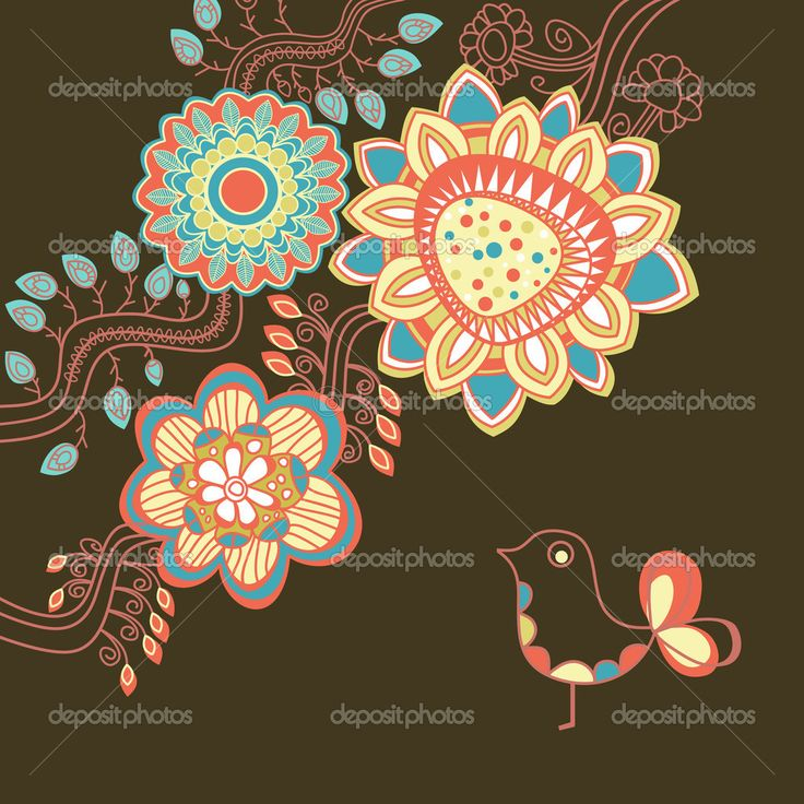 Скачать - Цветочные карты в яркие цвета — стоковая иллюстрация #11677199