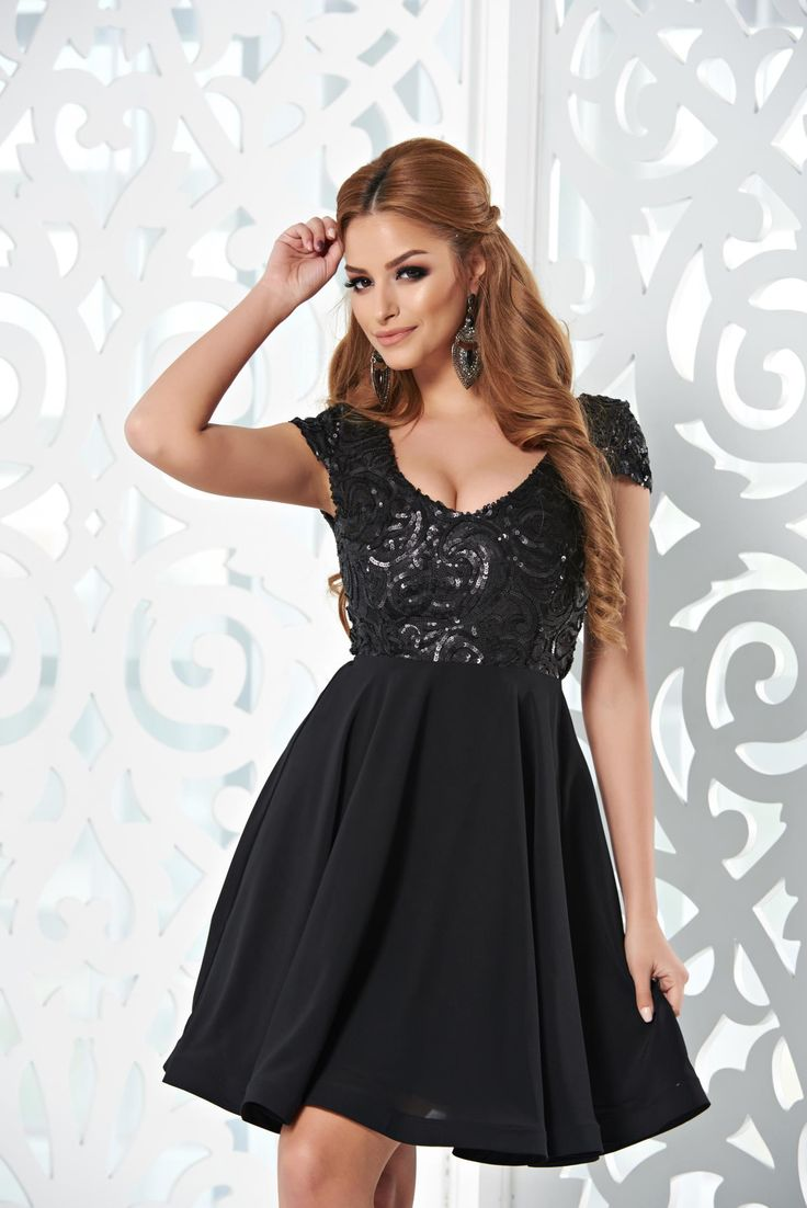 StarShinerS Sparkle Charms Black Dress, sequin embellished details, back zipper fastening, sleeveless, inside lining, Veil, nonelastic fabric