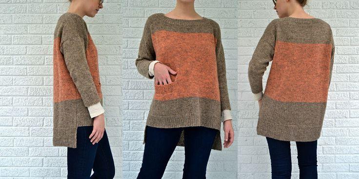 Пуловер цветными блоками модного фасона с заниженной линией плеча и удлиненной спинкой, связанный спицами. Как связать модный пуловер спицами. Описание.
