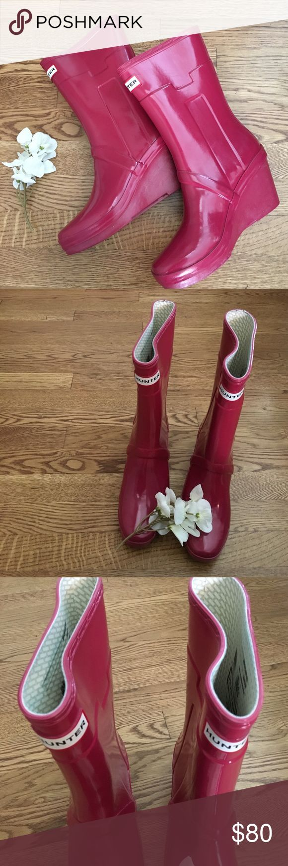 New Listing! Hunter Kellen Wedge Heel Boots Adorable Hunter Kellen Wedge Heel Rain Boots. Worn for one season. Size 7. Little wear on the bottom but otherwise Excellent preowned condition! Hunter Boots Shoes Winter & Rain Boots