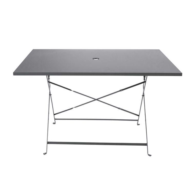 Table de salle à manger en métal grise L 120 cm Guinguette