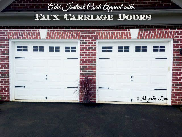 Faux Carriage Door for your garage--create the windows using tape and spray paint