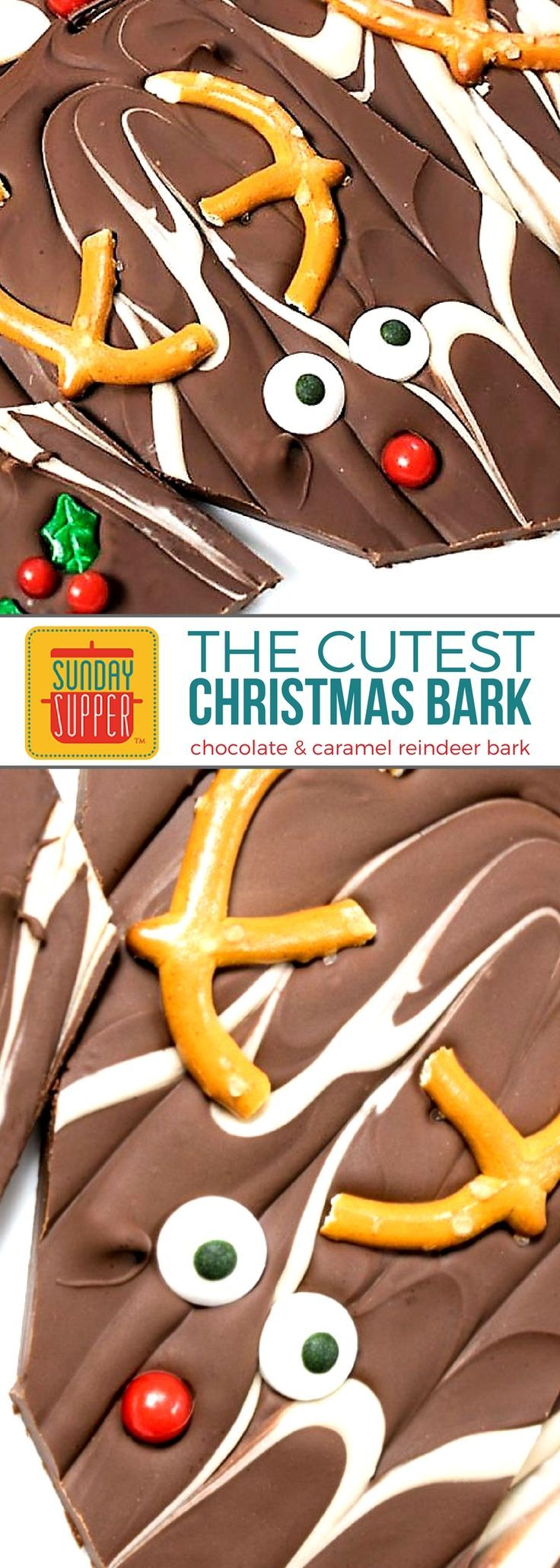 The cutest Christmas Bark recipe is also the easiest holiday treat to make and share! An AWESOME homemade holiday food gift! Kids of ALL ages will LOVE this adorable treat! With just a few common ingredients you can make this easy recipe. Our chocolate & caramel reindeer Christmas Bark recipe will be a hit this holiday season! A delicious snack or dessert option for you buffet table too! #SundaySupper #ChristmasRecipes #ChocolateRecipes #EasyRecipe #BarkRecipe
