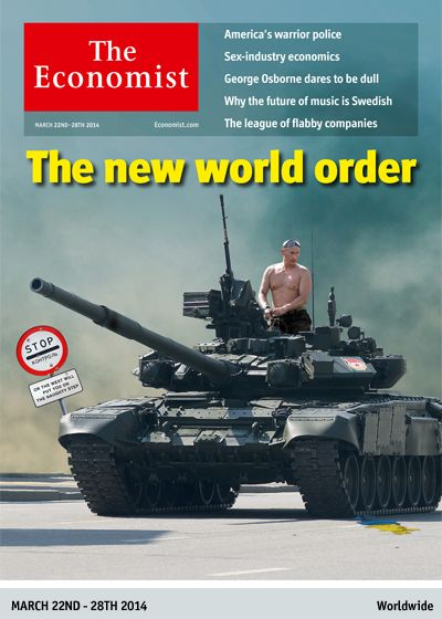 Economist Sums Things Up With Putin Riding Shirtless On A Tank