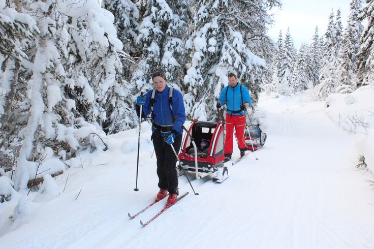 Get ready for the winter in Southern Norway, put the small kids in your trolley and put on your skis.  Photo: Inger Hutchinson©Visit Southern Norway