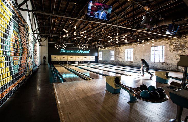 Pinewood Social Nashville, Tennessee Girls Getaways Jetsetter Guides Trip Ideas Weekend Getaways ten pin bowling sports bowling sport venue platform station public transport subway