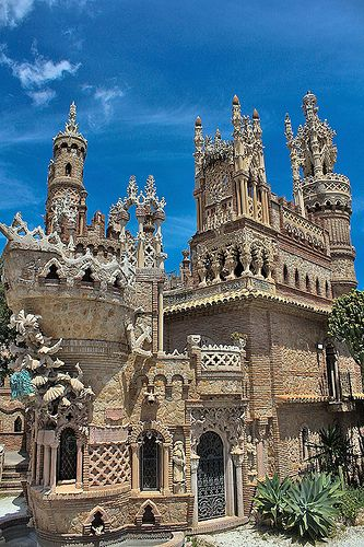Colomares Castle, Benalmádena, Málaga, Spain ~ Originally, not a castle but a monument constructed in 1993-4 in the memory of Christopher Columbus. The Castle's main surface area is 1500 square metres making it the largest monument dedicated to Columbus. Each of the three ships which made the voyage across the Atlantic are represented in the construction of the monument. The interior of the castle is home to the world's smallest chapel. Measuring just 1.96 square metres and is even featured…