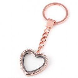Szív kulcstartó - rózsa-arany