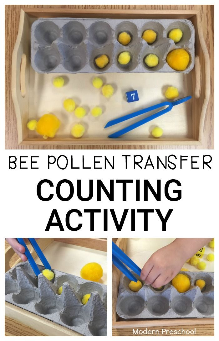 Bee pollen transfer counting activity for preschoolers and toddlers! Practice identifying numbers, counting, and strengthening fine motor skills with pretend pollen!