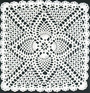 Square Pineapple Doily - free pattern ༺✿ƬⱤღ https://www.pinterest.com/teretegui/✿༻
