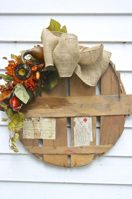 Tattered Tiques: Vintage Bushel Basket Wreath