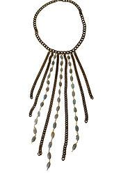 Brass Cascade Necklace with Labradorite