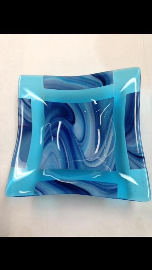 """Waves - 10""""x10"""" fused slumped platter COE 96"""