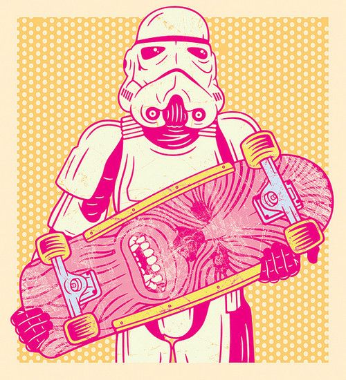 Stormtrooper with a chewbacca skateboard || #starwars #Stormtroopers || Follow on http://www.pinterest.com/lcottereau/star-wars/