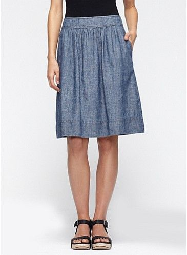 Knee-Length A-Line Skirt in Hemp & Organic Cotton Chambray