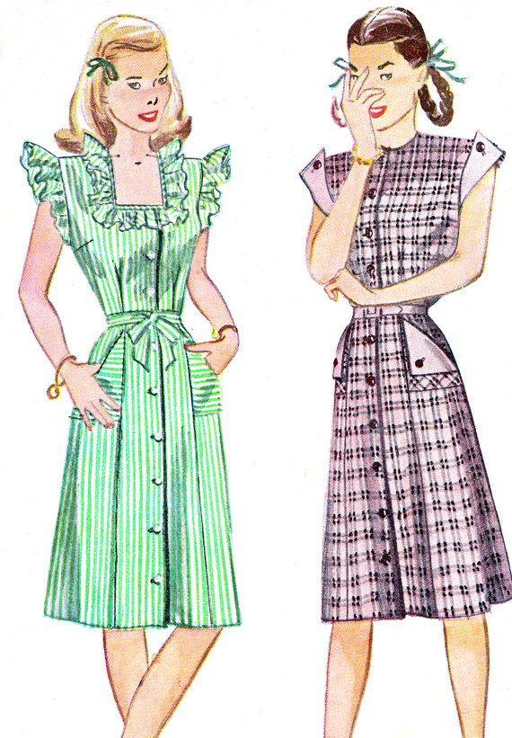 1940s Pattern semplicità 1283 pulsante frontale giorno abito abbottonato arruffato Cap maniche Womens Vintage Sewing Pattern busto 34
