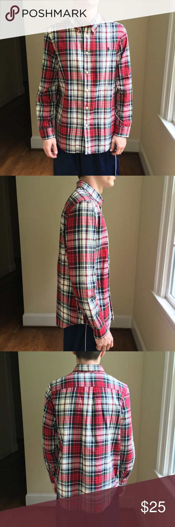 Ralph Lauren Plaid Button Down Shirt NWT Fantastic brand new with tags Ralph Lauren plaid button down shirt.  Size XL (18-20) boys, but will also fit a thin teen.  Model is 18yo and 5ft 11in size small.  Perfect colors for the upcoming Christmas season and a great shirt for year around use. Ralph Lauren Shirts & Tops Button Down Shirts
