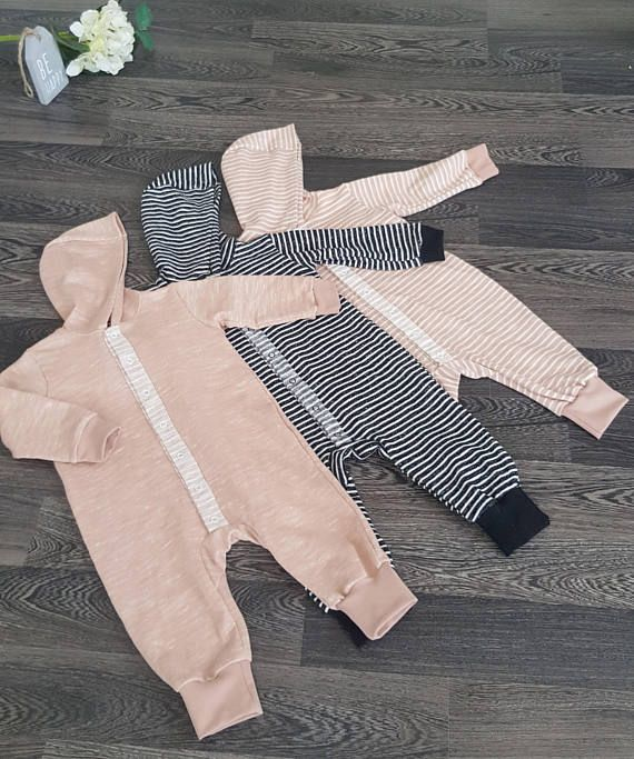 Organic Hooded Baby Girl Boy Overall Baby Blush Striped
