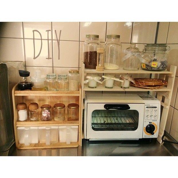 ごちゃっとしたキッチンの収納に最適!サイズもこれぐらいだと邪魔になりませんね☆