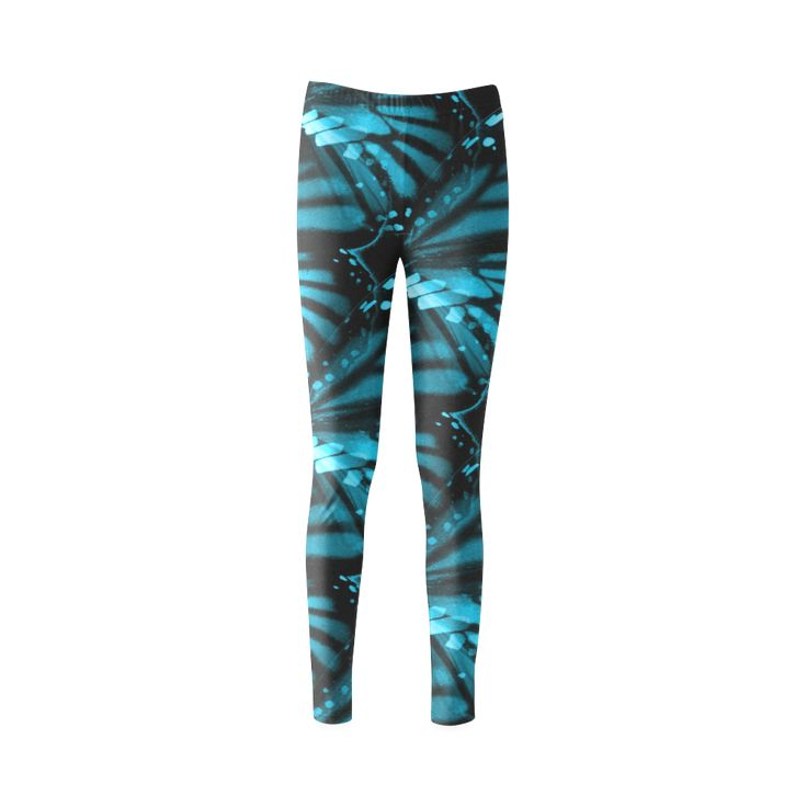 Blue Butterfly Wings Custom Fashion Leggings for Women