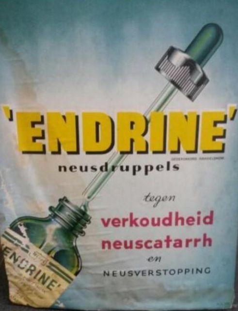 Endrine - neusdruppels tegen verkoudheid neuscatarrh en neusverstopping - reclameplaat van karton