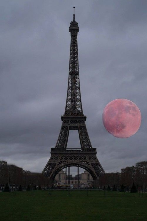Eiffel Tower with a Supermoon