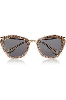 Miu Miu Cat-eye glittered acetate and metal sunglasses | NET-A-PORTER